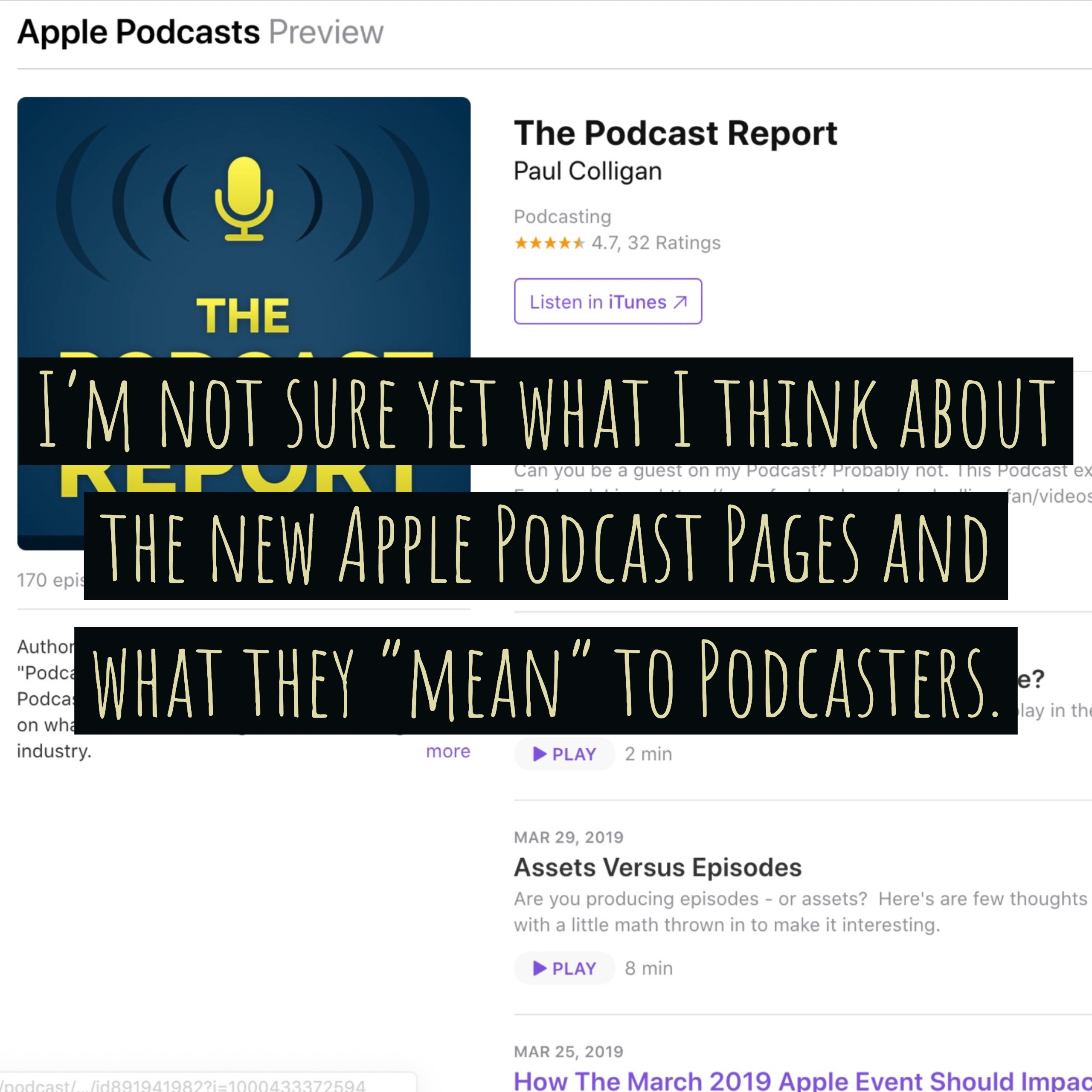 A Few Thoughts On The New Apple Podcast Pages And What They